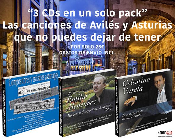 Tres CDs en un solo pack. Canciones de Avilés y Asturias que deberías tener a un precio excepcional hasta fin de existencias.